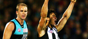 Ruffling Feathers: Rookie Magpie Chris Tarrant goals against Port Adelaide in 2002.